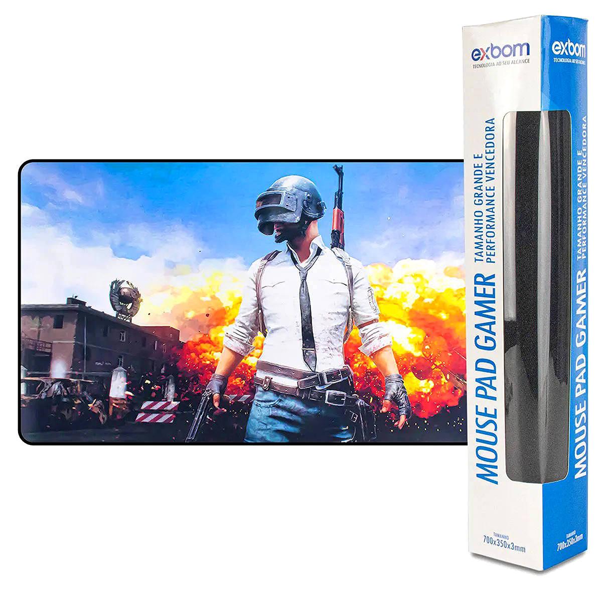 Mouse Pad Gamer Extra Grande 700x350x3mm com Bordas Costuradas e Base Antiderrapante Exbom MP7035 PU Mission
