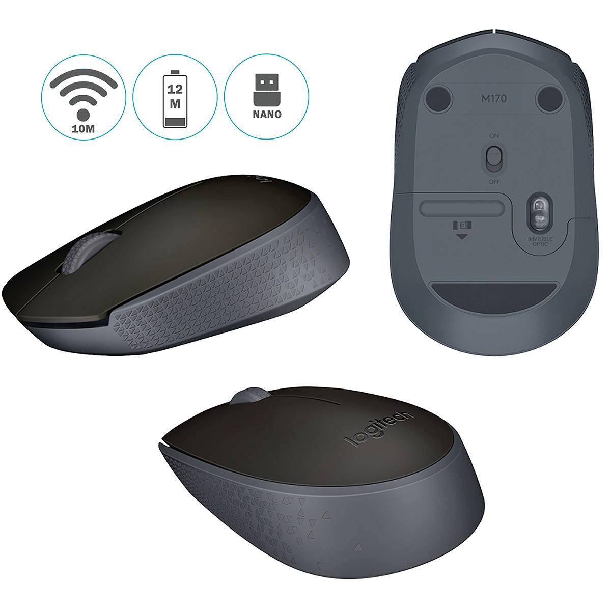 Mouse sem fio Logitech M170 Compacto Pilha Inclusa 910-004940 Wireless Preto