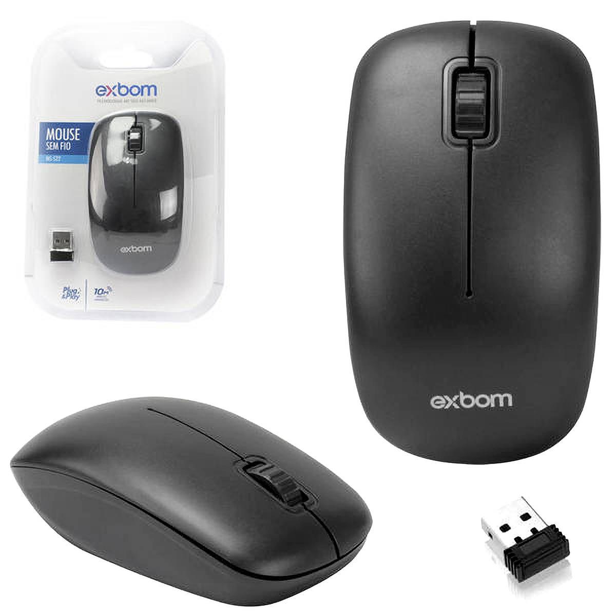 Mouse Sem Fio Preto com Scroll Exbom MS-S22