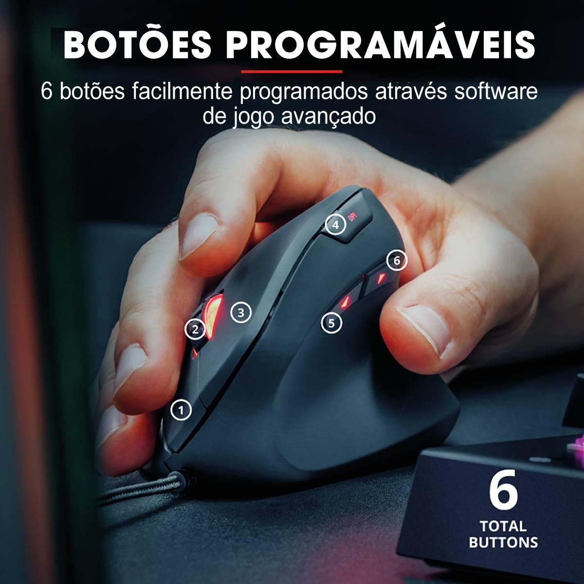 Mouse Vertical Ergonômico para Jogos 6 Botões Programáveis até 10.000 DPI Cabo USB 1.8m Rexx Trust GXT 144 Gamer