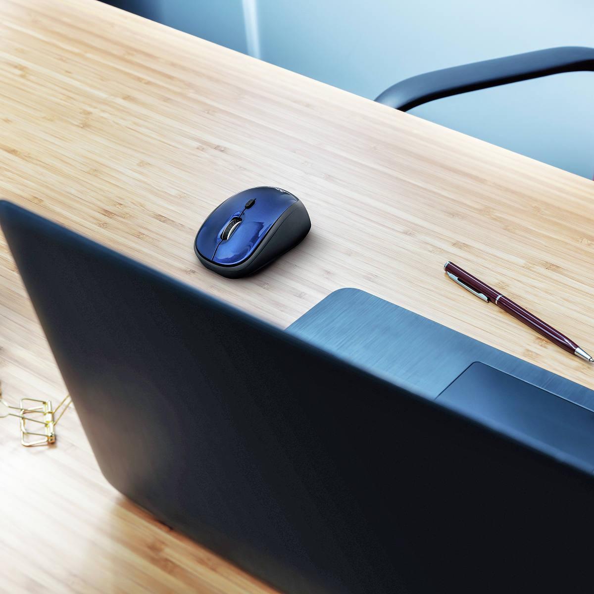 Mouse Wireless Compacto com Botão Seletor de DPI Micro Receptor USB Acompanha Pilha Trust Yvi Blue