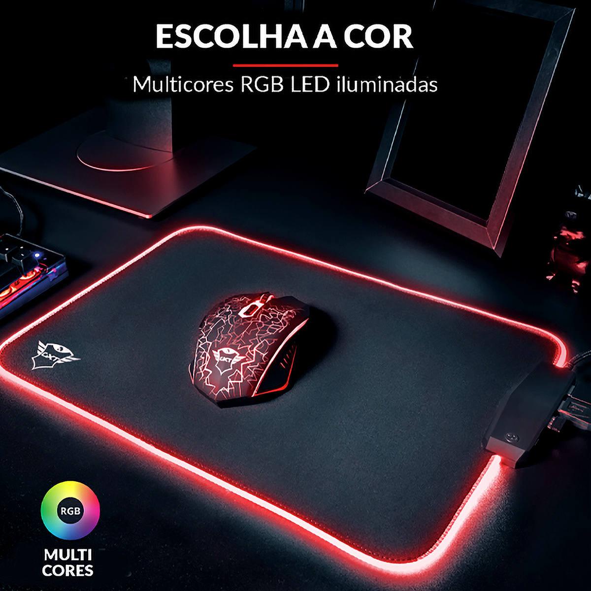 Mouse Pad Gamer com Hub USB 4 Portas integrado Bordas LED RGB 350x250x3mm Trust Glide GXT 765