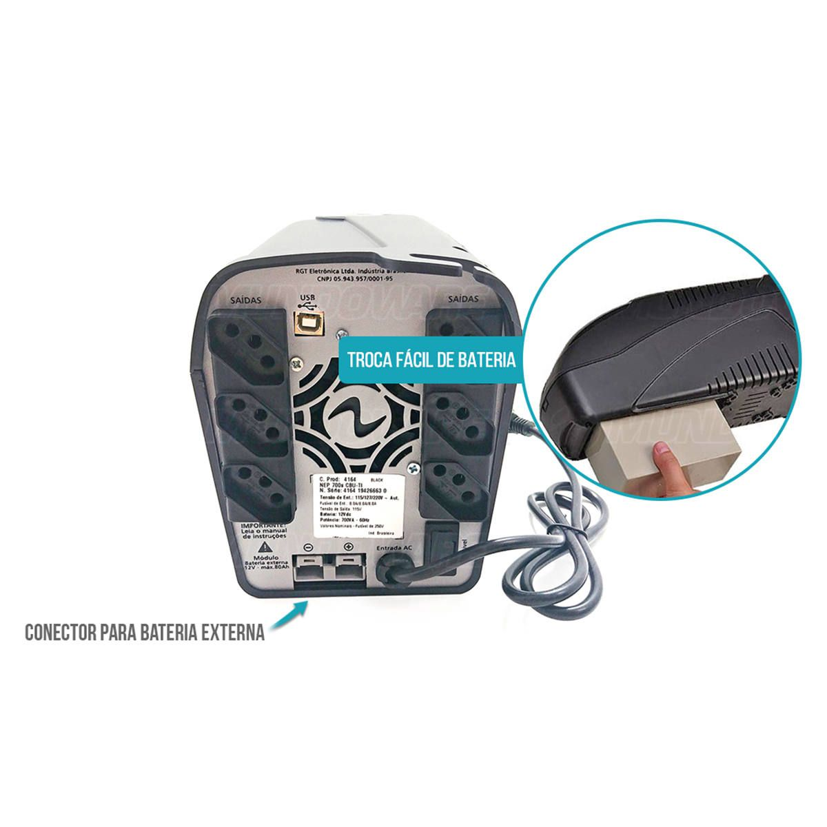 Nobreak 700VA 490W Senoidal Puro Conector para Bateria Externa 3 em 1 Troca Fácil Trivolt Ragtech Easy Pro CBU-TI 4164