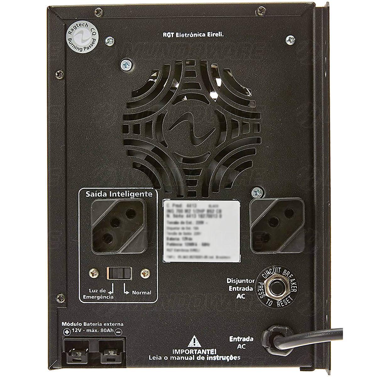 Nobreak de Portão Eletrônico Senoidal 1HP 1200VA E.127/220V S.115V Sem Bateria Interna com Engate Externo Ragtech 4410