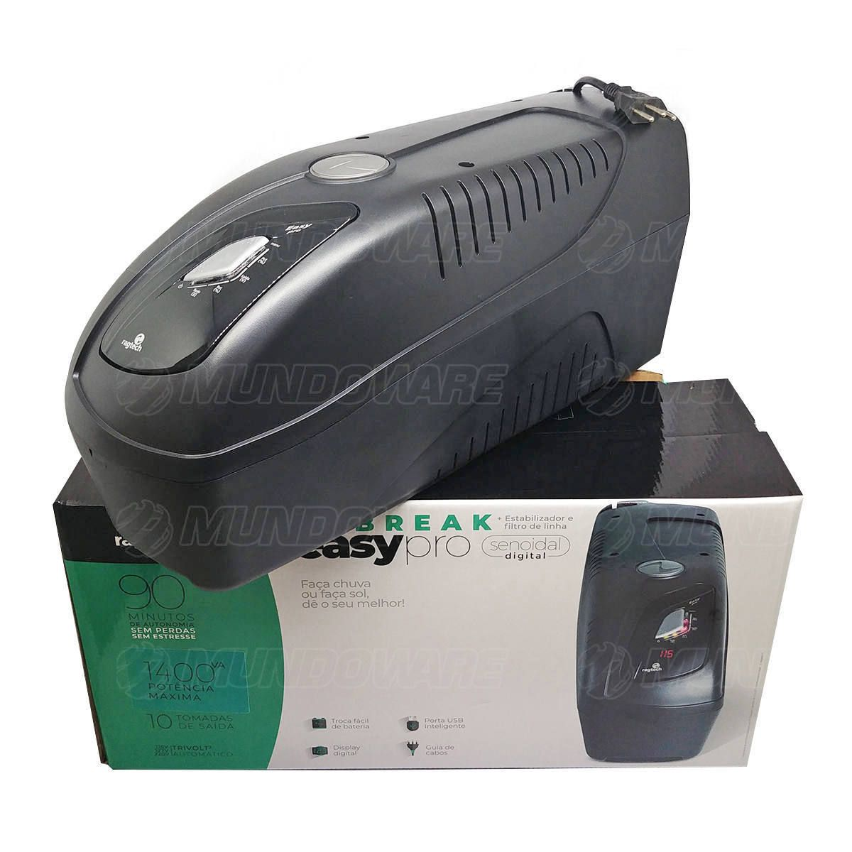 Nobreak Senoidal Puro 1400VA 980W Display Digital 10 Tomadas Engate Bateria Externa USB Inteligente Trivolt Ragtech 4035