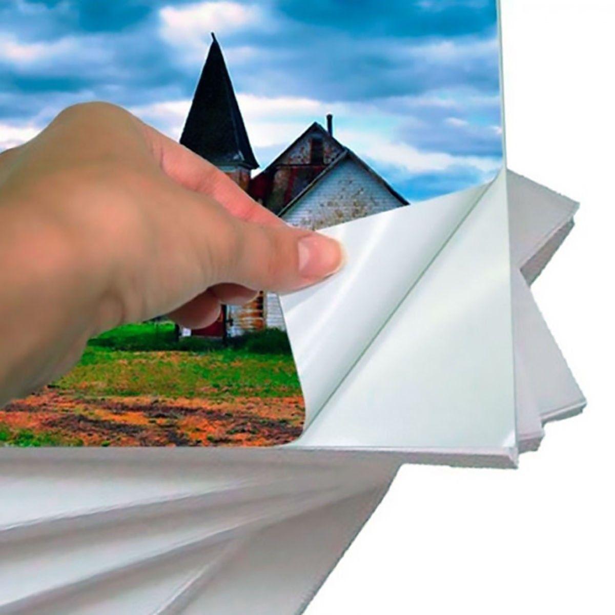 Papel Fotográfico Adesivo Glossy A4 130g Branco / 100 folhas