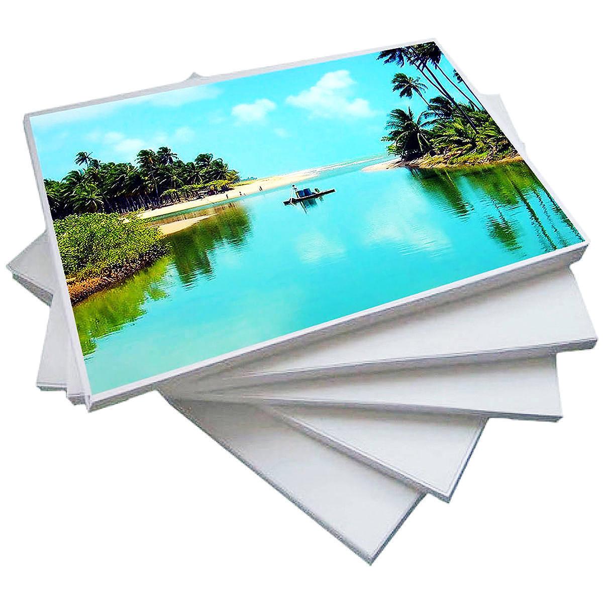 Papel Fotográfico Dupla Face 120g A4 Glossy Branco Brilhante Resistente à Água / 500 Folhas