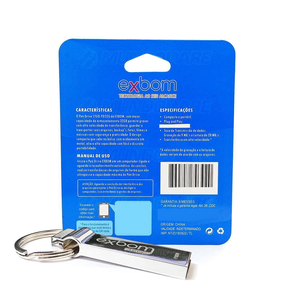 Pen Drive 32GB Compacto com Acabamento em Metal Exbom Pendrive STGD-PD32G