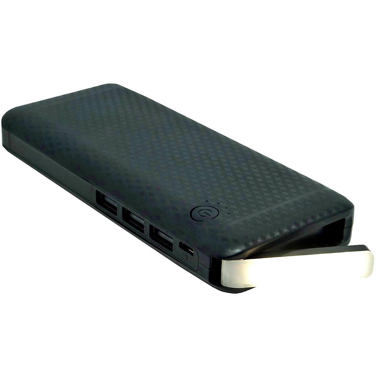 Power Bank 10000mAh Bateria Portátil com 3 Portas USB e Lanterna de LED Exbom PB-MX10 Preto