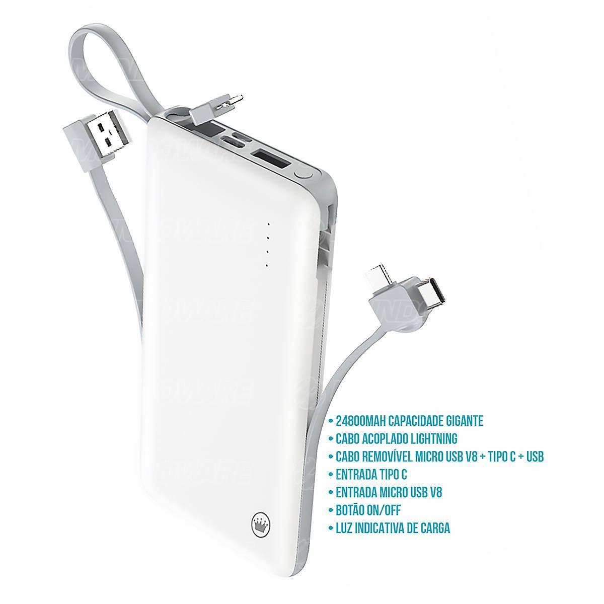 Power Bank 24800mAh Multi Portas Cabo Acoplado Lightning e Cabo Removível MicroUSB + Type-C + USB Kimaster PN959