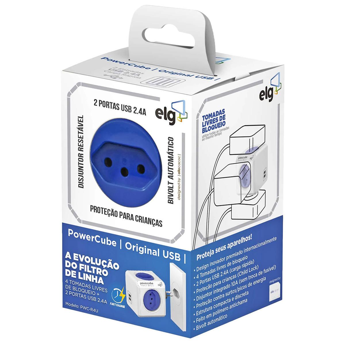 PowerCube Adaptador de Tomadas com 4 Tomadas Livres de Bloqueio + 2 USB 2.4A Original Bivolt 10A ELG PWC-R4U