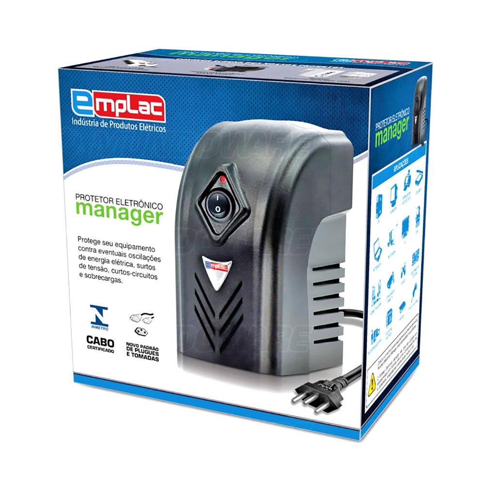 Protetor Eletrônico 220V Monovolt 1000VA 600W Entrada 220V Saída 220V 4 Tomadas Emplac F60004