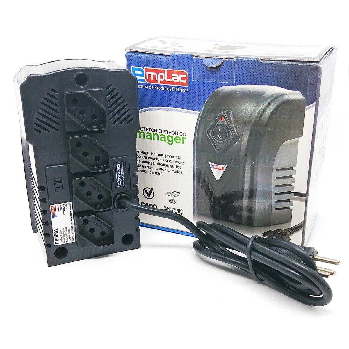 Protetor Eletrônico Bivolt 500VA 300W 4 Tomadas Cabo de 1 metro Emplac F60002