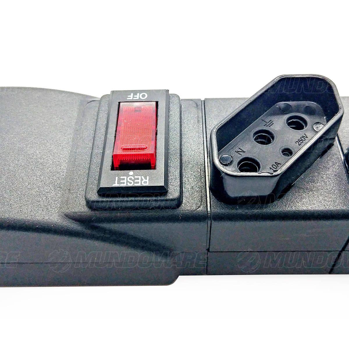 Régua de Energia Bivolt 8 Tomadas 10A Cabo 5 Metros Desarme Automático Chave Disjuntora Reset/Off Emplac F50217