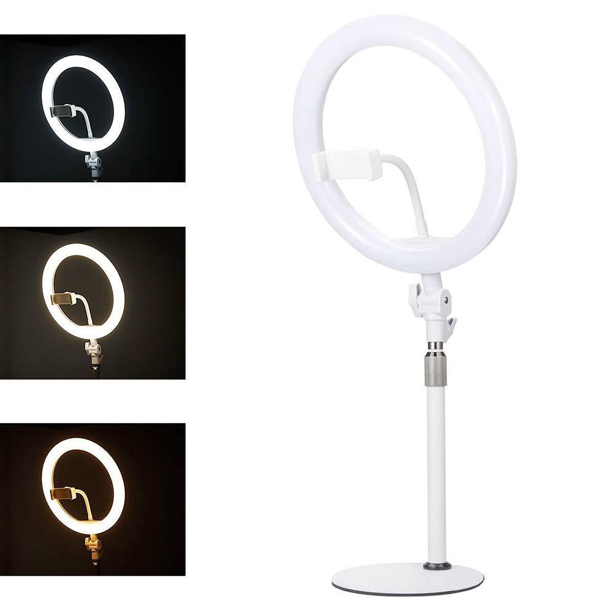 """Ring Light 10"""" 120 LEDs Dimerizáveis com Apoio de Mesa Retrátil e Suporte para Celular Exbom R10P15"""