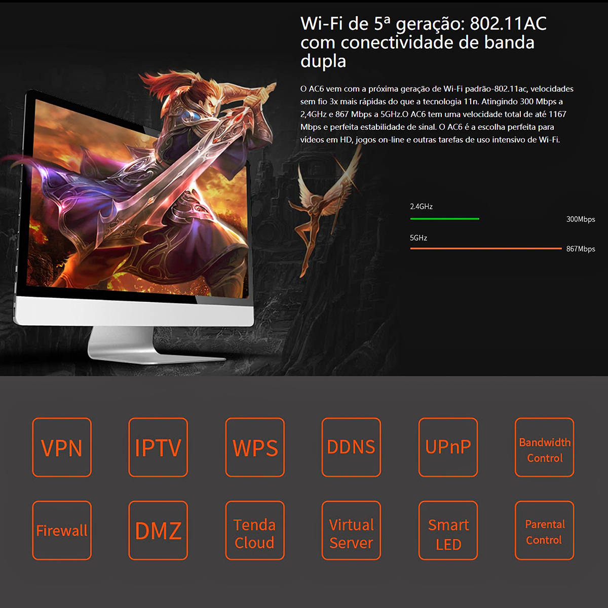 Roteador Inteligente AC1200 Sem Fio Dual Band Wi-Fi 1200Mpbs 4 Antenas High Power Tenda Wireless AC6