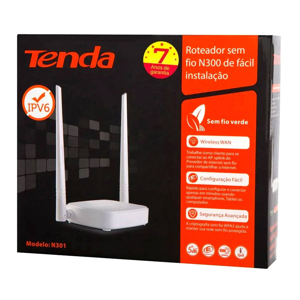 Roteador Wireless 300Mbps 2 Antenas Externas 3 Portas LAN 802.11N Sem Fio Tenda N301