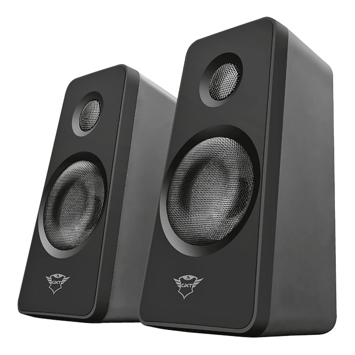 Speaker Set GXT 629 Tytan RGB com Controle Remoto Iluminação RGB Pulsante Caixa de Som 2.1 Trust Intensa e Potente