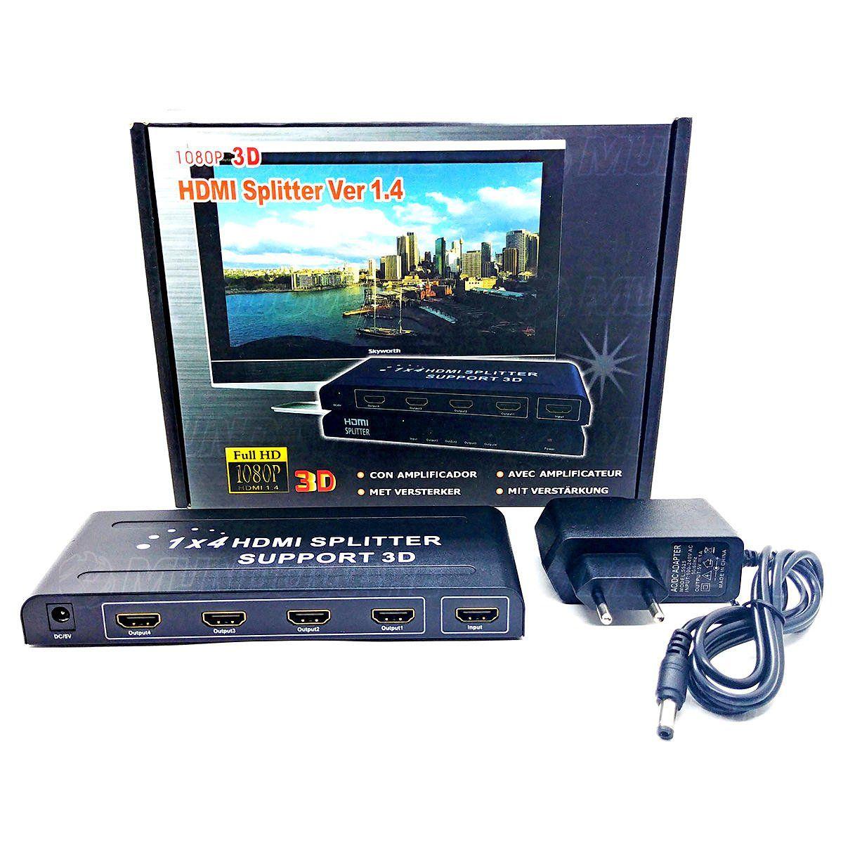 Splitter HDMI 1 Entrada x 4 Saidas 1080P 3D Versão 1.4 M501