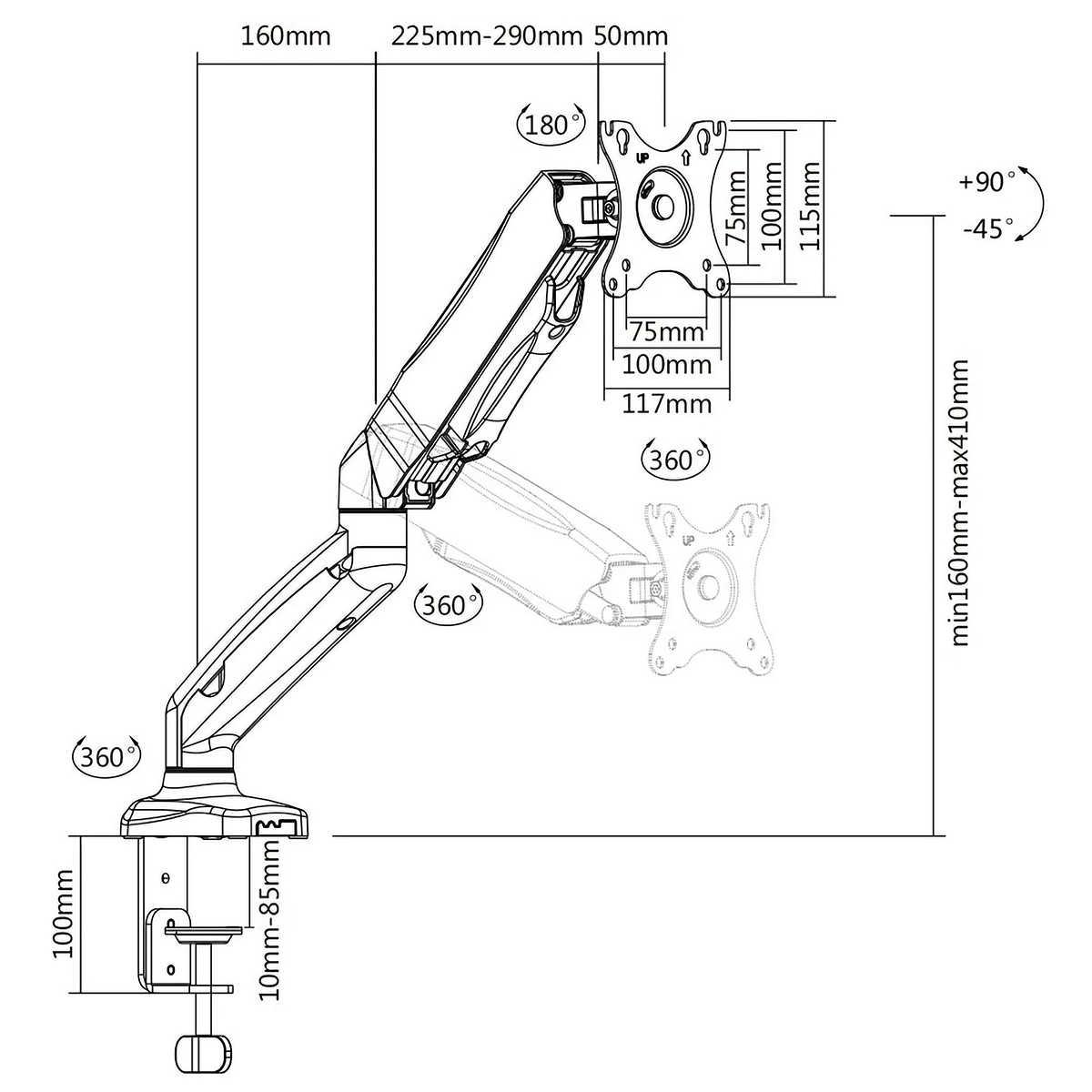 Suporte Articulado de Mesa com Pistão a Gás Ajuste de Altura Rotação de Tela e Base para Monitores de 17 a 27 ELG F80N