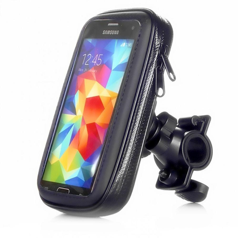 """Suporte de Guidão para Celular e GPS até 6"""" para Bicicleta e Moto Case Impermeável com Fechamento em Zíper Exbom SP-C20L"""