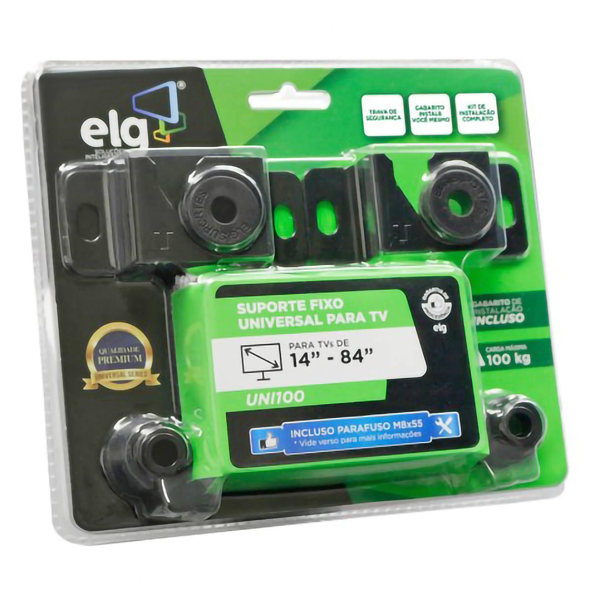 """Suporte Fixo de Parede para TVs LED Plasma LCD 3D Universal de 14"""" a 84"""" até 100kg em Aço Carbono ELG UNI100"""