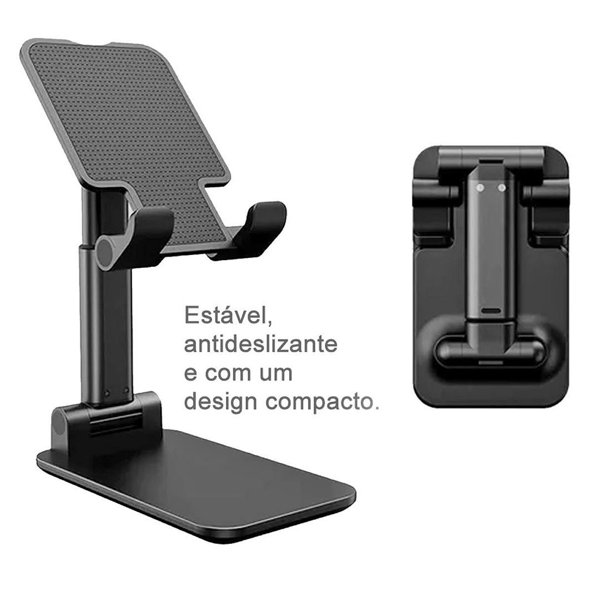 Suporte para Celular Altura e Inclinação Ajustável Posição Horizontal ou Vertical de Mesa Kimaster SU125 Preto