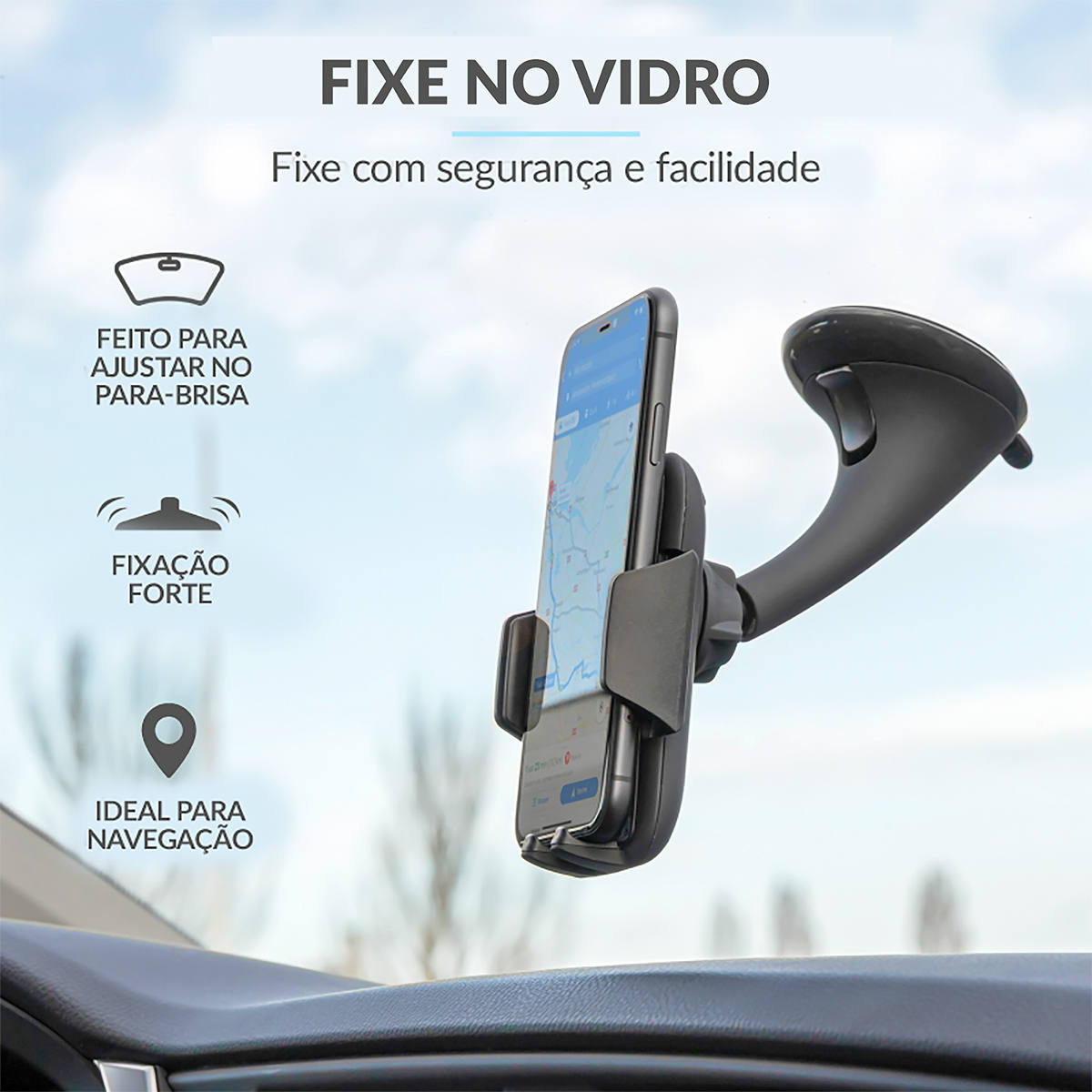 Suporte para Celular Premium para Fixar no Para-Brisa do Carro Ângulo Ajustável 360 Graus Trust Runo