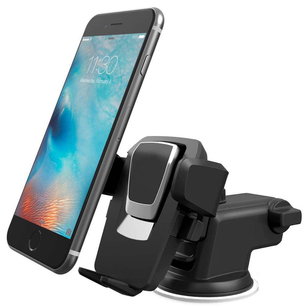 Suporte Veicular para Celular e GPS com Trava Automática, Rotação 360º e Haste Retrátil de 10cm Exbom SP-72