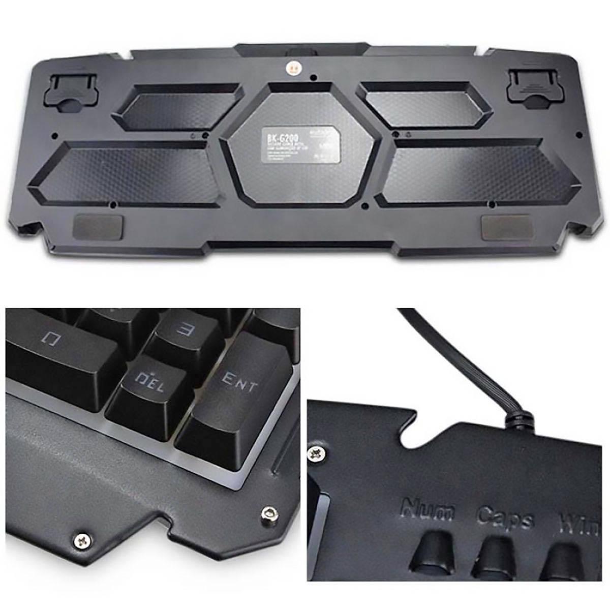 Teclado Gamer USB Semi-Mecânico com Iluminação LED e Acabamento em Metal Exbom BK-G200