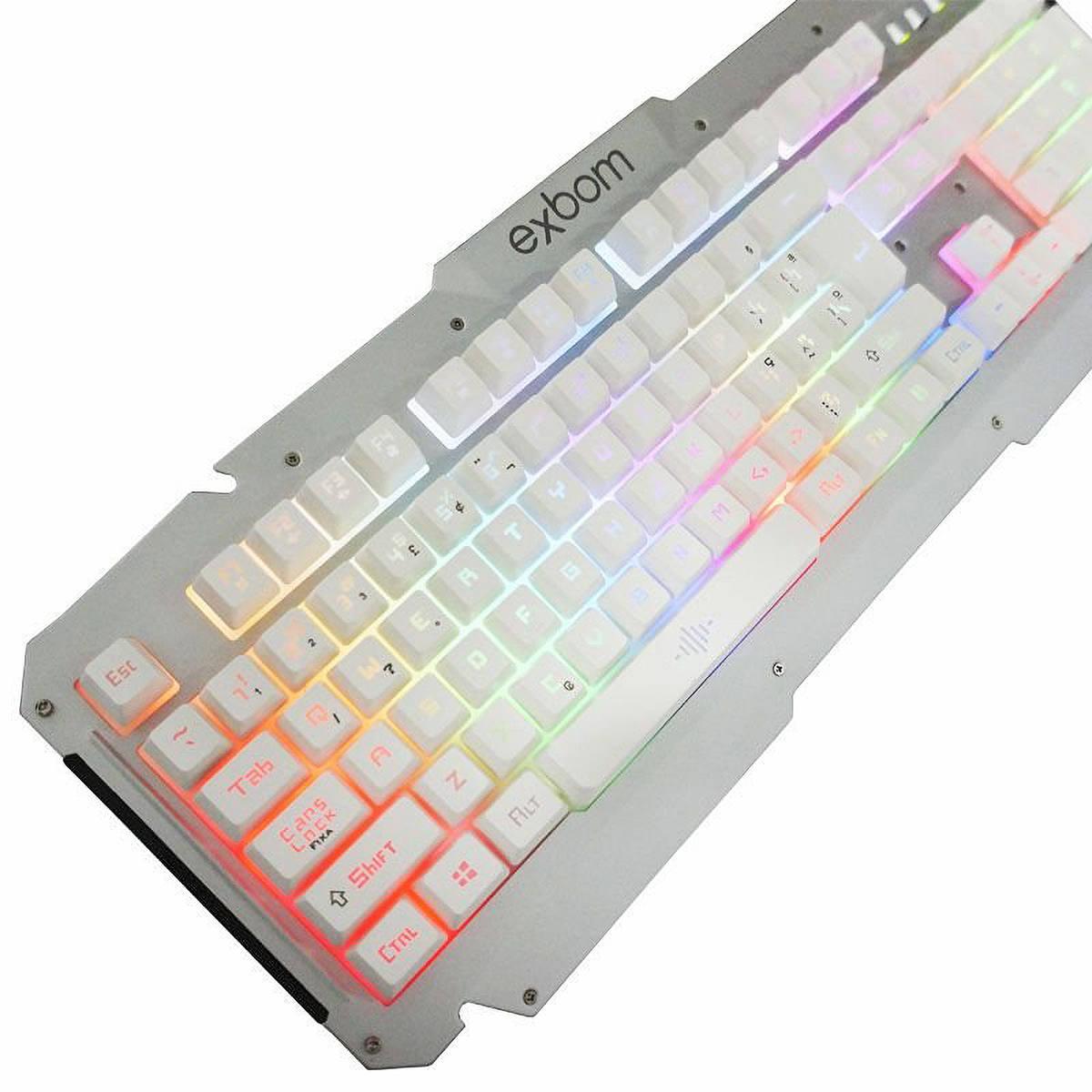 Teclado Gamer USB Semi-Mecânico com Iluminação LED e Acabamento em Metal Exbom BK-G200 Branco