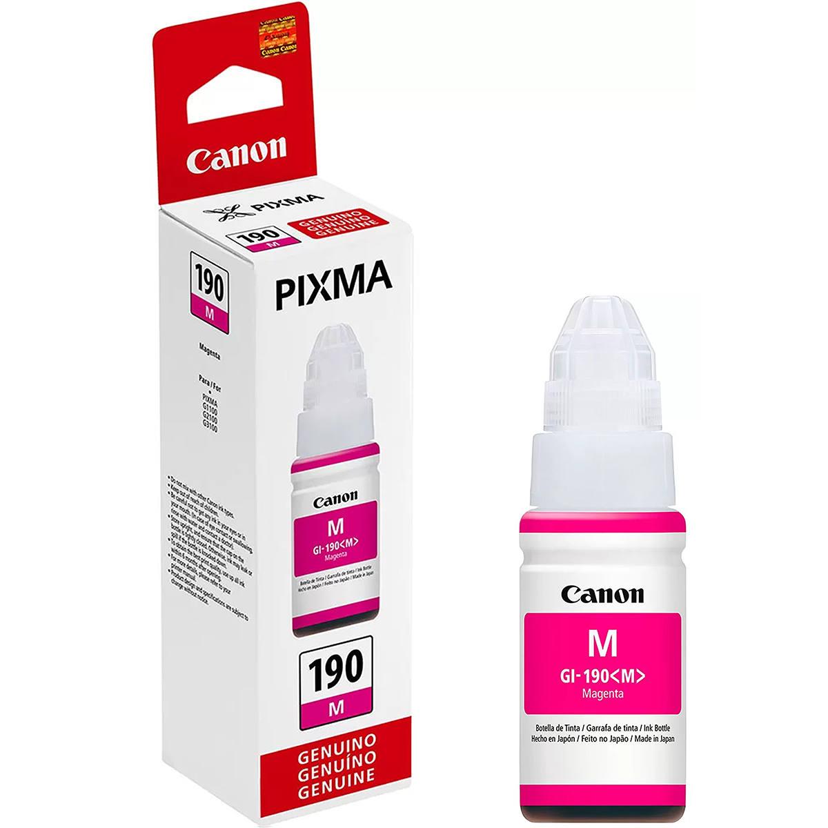 Tinta Canon GI-190M GI-190 GI190 Magenta Original para Pixma Maxx G1100 G2100 G3100 G3102 G4100 G3111 Refil de 70ml