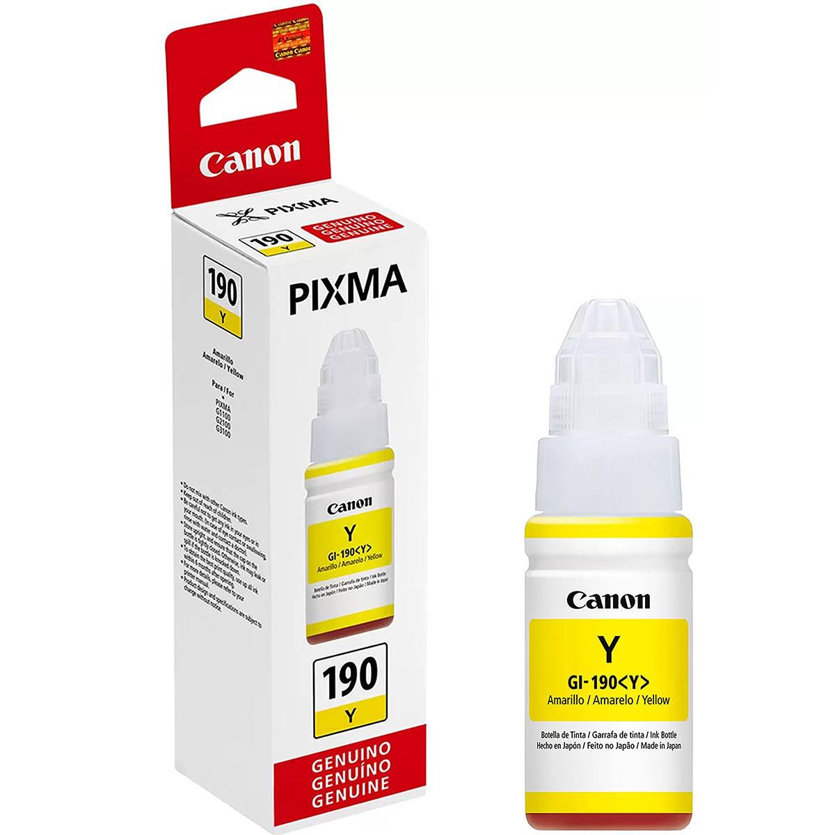 Tinta Canon GI-190Y GI-190 GI190 Amarela Original para Pixma Maxx G1100 G2100 G3100 G3102 G4100 G3111 Refil de 70ml