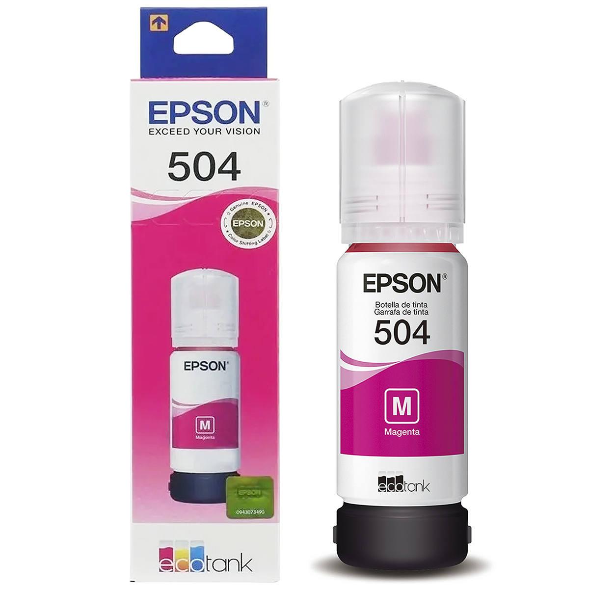 Tinta Epson 504 T504320 T504320AL Magenta Original para Ecotank L4150 L4160 L6191 L6161 L6171 Refil de 70ml