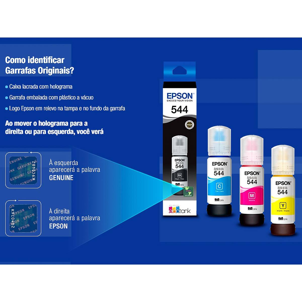 Tinta Epson 544 T544320 T544 Magenta Original para Ecotank L1110 L3110 L3150 L3160 L5190 Refil de 65ml