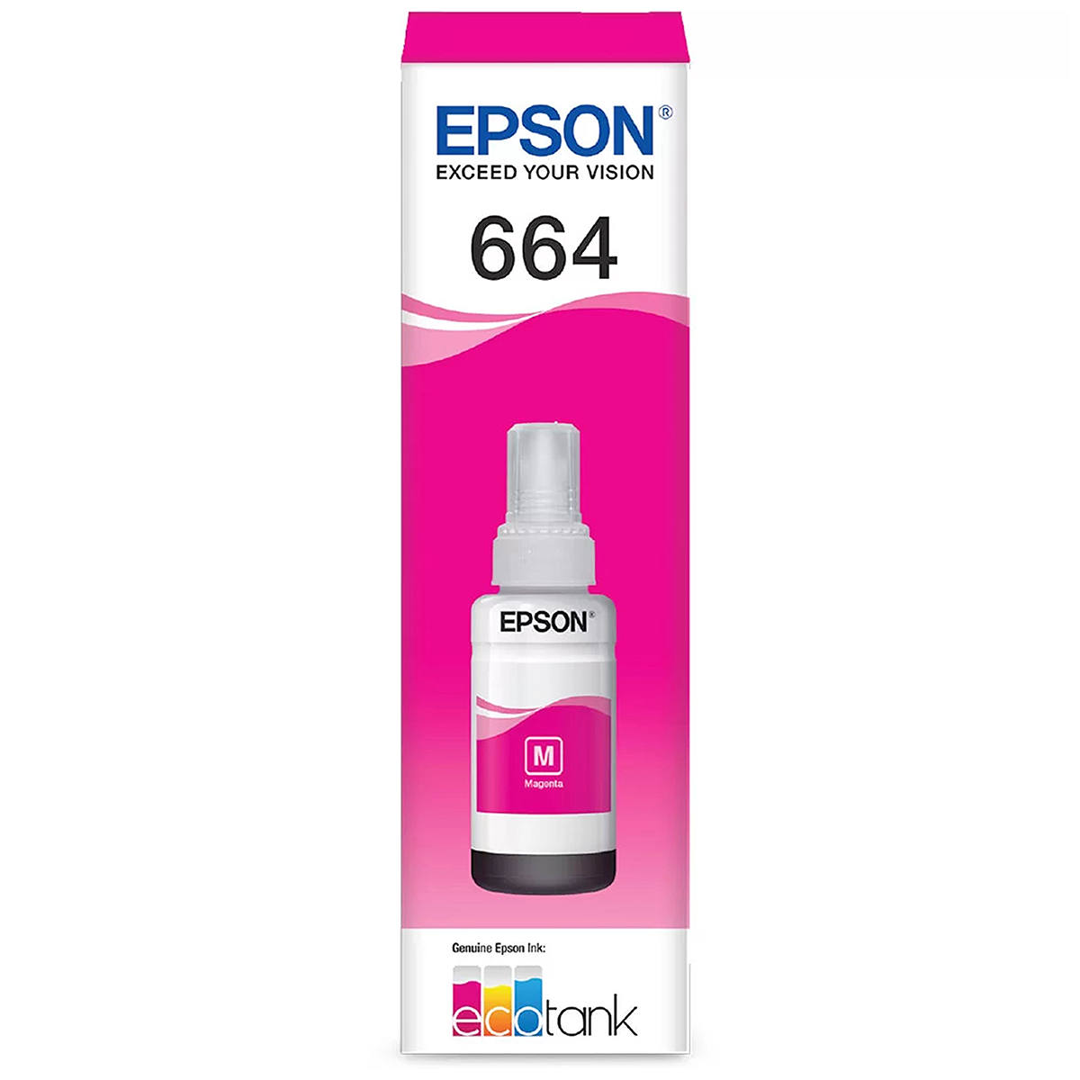Tinta Epson 664 T664320 T664320AL Magenta Original para Ecotank L310 L365 L375 L110 L355 L606 L1455 Refil de 70ml
