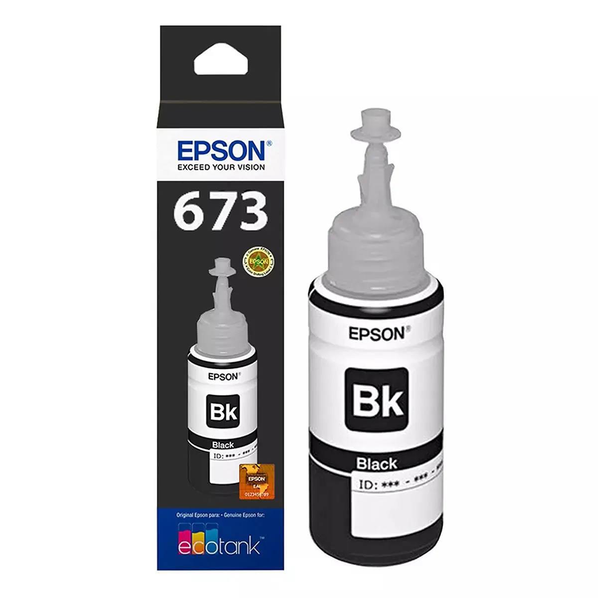 Tinta Epson 673 T673120 T673120AL Preta Original para Ecotank L800 L805 L810 L850 L1800 Refil de 70ml