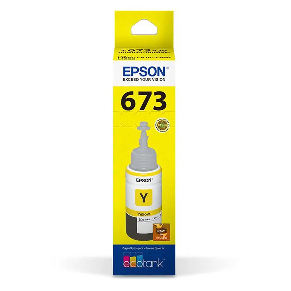 Tinta Epson 673 T673420 T673420AL Amarela Original para Ecotank L800 L805 L810 L850 L1800 Refil de 70ml