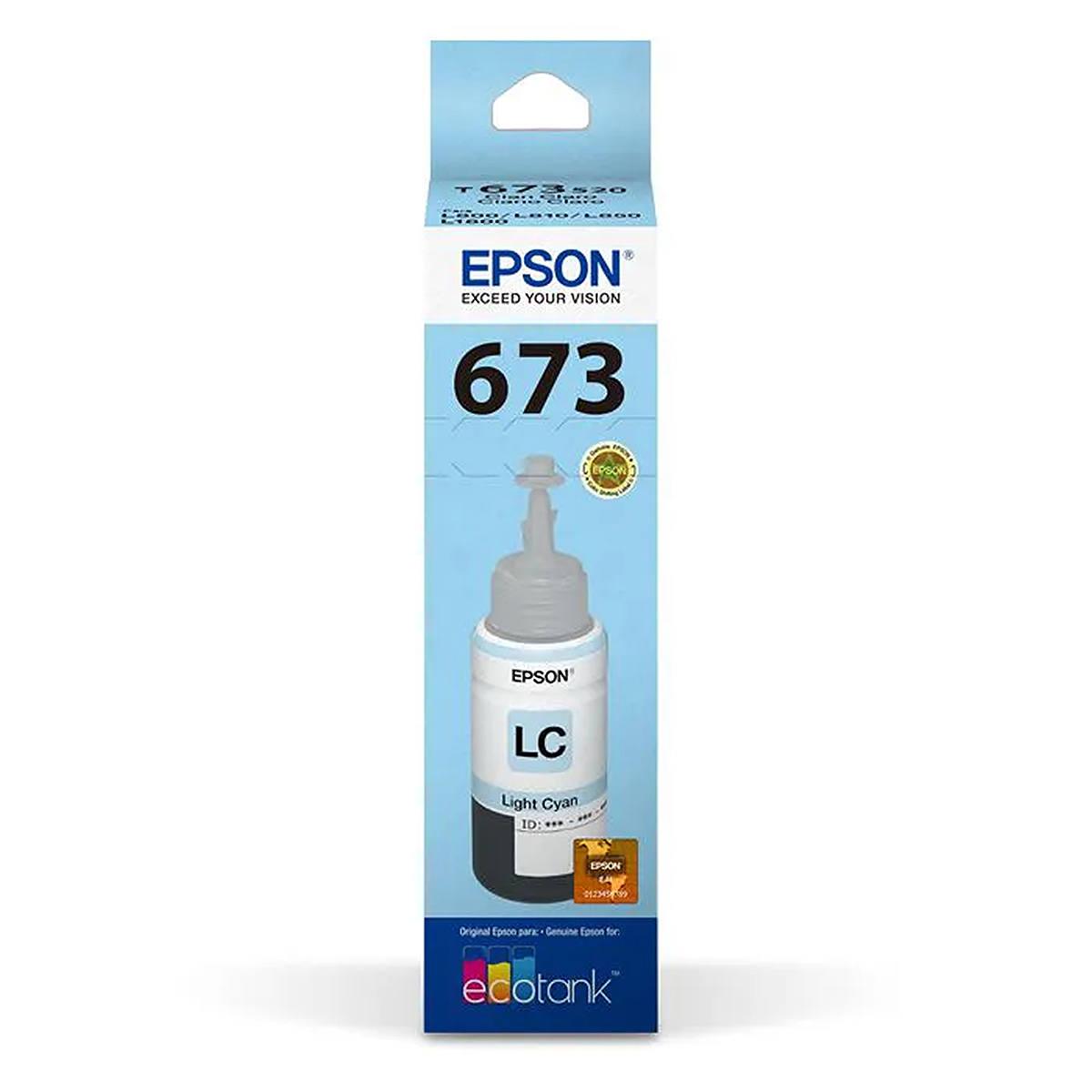 Tinta Epson 673 T673520 T673520AL Ciano Light Original para Ecotank L800 L805 L810 L850 L1800 Refil de 70ml