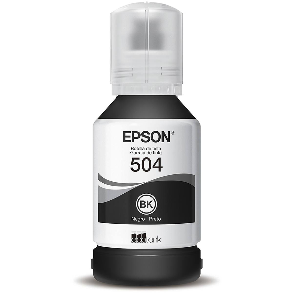 Tinta Epson 504 T504120 T504120AL Preta Original para Ecotank L4150 L4160 L6191 L6161 L6171 Refil de 127ml