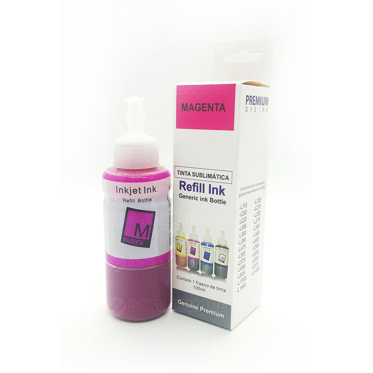 Compatível: Tinta Sublimática Laserteck para Sublimação para Epson L200 L355 L365 L380 L455 L565 / Magenta / Refil 100ml