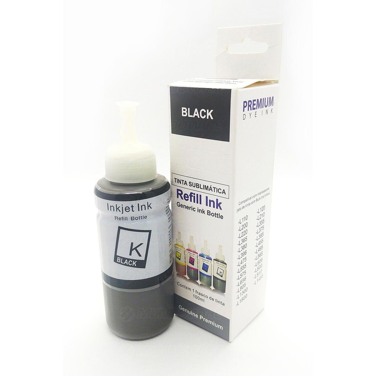 Compatível: Tinta Sublimática Laserteck para Sublimação para Epson L355 L365 L375 L395 L575 L1300 / Preto / Refil 100ml
