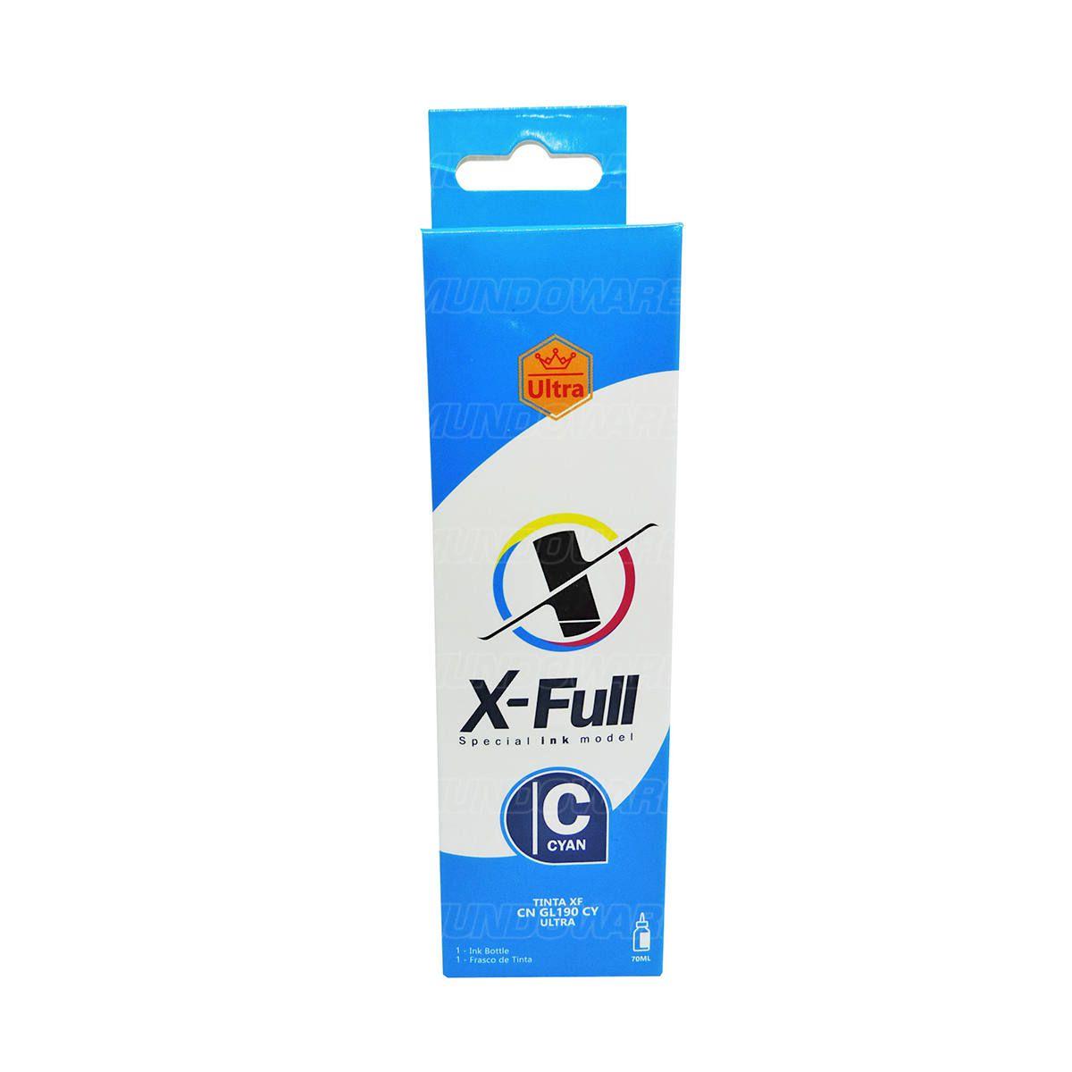 Tinta X-Full Corante Ultra para Impressora Canon G Series G3800 G3100 G1800 G1900 com Bico Aplicador / 70ml / Ciano