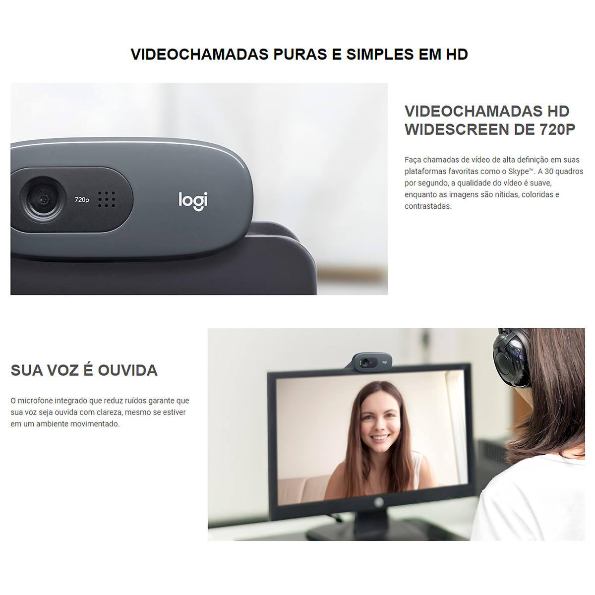 WebCam Logitech C270 HD 3MP para Videochamadas e Gravações em Vídeo Widescreen 720p com Microfone Embutido 960-000694