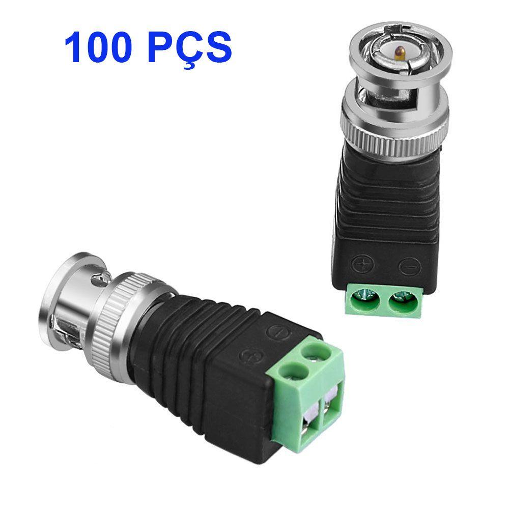 100 Conector Bnc Com Borne Parafuso Para Cftv
