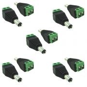10 Conector P4 Macho Com Borne Cftv