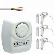 Sensor Porta Aberta Pa-110 Jfl + 03 Magnetico Sobrepor Com Fio Na + 30mts Cabo 4 Vias