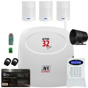 Kit Alarme Active 32 Duo Jfl Com Sensor Sem Fio Ir 520 Duo