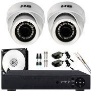 Kit 2 Câmera De Segurança Dome Interna Ahd 720p Lente 2.8mm Completo