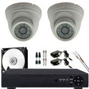 Kit 2 Câmera De Segurança Dome Interna Ahd 720p Lente 3.6 Completo
